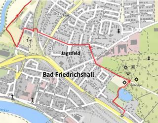 Verlauf des Weges auf Bad Friedrichshaller Gemarkung