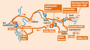 Übersichtskarte der Regiotour Kochertal