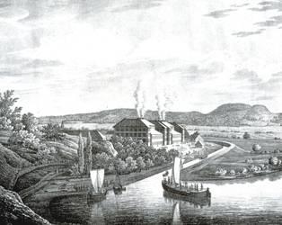 Einfahrt eines Frachtkahns in den Salinenkanal um 1825