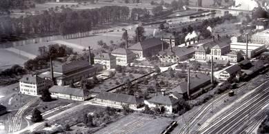 Das Luftbild der Firma AERO-Express zeigt das Salinengelände im August 1957