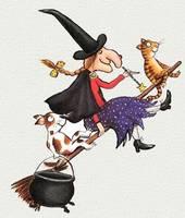 Eine Hexe fliegt auf ihrem Besen