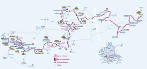 Übersichtskarte des Burgenstrassen Radwegs