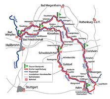 Übersichtskarte vom Kocher Jagst Radweg