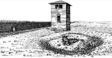 Die Rekonstruktionszeichnung zeigt einen durch einen Turm gesicherter Limesabschnitt