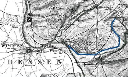 Der Verlauf des Salinenkanals von Hagenbach bis zur Einmündung in den Neckar. Das Bild stammt aus 1844